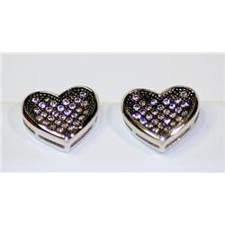 Lady's Fashionable Heart Design Sterling Silver Diamond  off color Pinkish Earrings