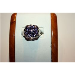 Unisex Fancy 14 kt White Gold Amethyst Ring