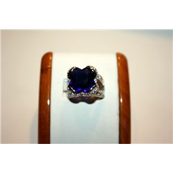 Lady's Fancy 14 kt White Gold Royal Amethyst & White Diamond Ring