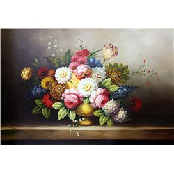 Original Oil on Canvas. Flowers by Adams