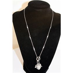 LADIES STUNNING DIAMOND HEART KEY & LOCKET CHARM NECKLACE