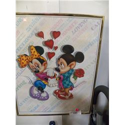 "Mickey & Minnie in Gold Frame approx 16"" x 20"""