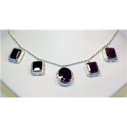 Lady's Very Fancy Silver 925  Multi Shape  Ruby Necklace