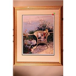 Robert Lui Hand Signed and Numbered Lithograph -Victorian Chair By The Sea