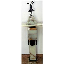 Signed Chiparus Bronze and Ivory with Pedestal