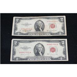 1953-B United States Note $2; Red Seal, Lot of 2