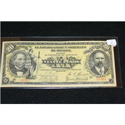 "1915 Sinaloa ""XX"" Veinte Pesos Foreign Bank Note"