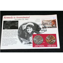 1995 Kennedy Half Dollar Set; P&D Mints W/Postal Stamp Commerating Assasination