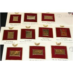 1980-1981 First Day Issue 22K Gold Replica Stamp W/Postal Stamp; Various Events & People; Lot of 10
