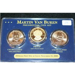 2008 US Van Buren Presidential Coin Set; P&D Mints & Proof