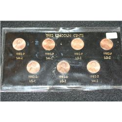 1982 Lincoln Cents Coin Set; Lot of 7