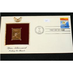 1981 First Day Issue 22K Gold Replica Stamp W/Postal Stamp; Space Achievement Probing The Planets