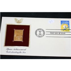 1981 First Day Issue 22K Gold Replica Stamp W/Postal Stamp; Space Achievement Understanding the Sun