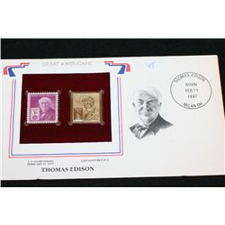 22K Gold Replica Stamp W/Postal Stamp; Thomas Edison Born 2/11/1847