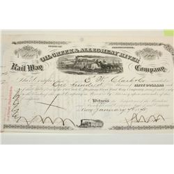 The Oil Creek & Allegheny River Company Stock Certificate Dated 1875