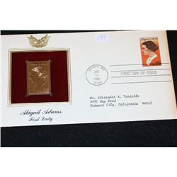 1985 First Day Issue 22K Gold Replica Stamp W/Postal Stamp; Abigail Adams First Lady