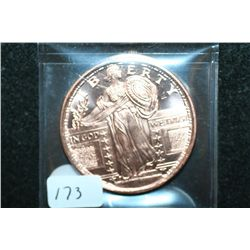 Copper Round; .999 Fine Copper 1 Oz.