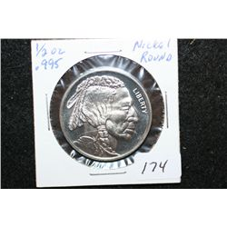 2012 Nickel Round; .995 Nickel 1/2 Oz.