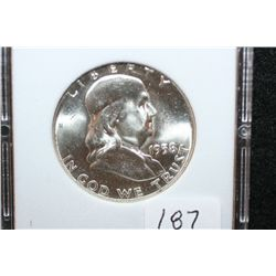 1958 Ben Franklin Half Dollar; MCPCG Graded MS65