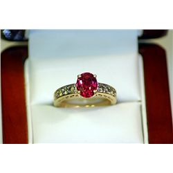 LADY'S 10K YELLOW GOLD LAB RUBY/DIAMOND RING