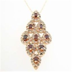 Red & White Diamond 10K Rose Gold Necklace