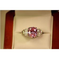 Women's Fancy Pink Sapphire and White Topaz  Ring