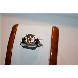 Lady's Beautiful 14 kt White Gold Golden Sapphire & Garnet Ring