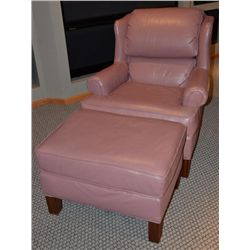 Smithe-Craft Salmon Pink Leather Chair &amp; Ottoman