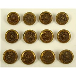 12 Antique Brass Art Nouveau Floral Buttons