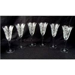 Six Floral Etched Champangne Glasses