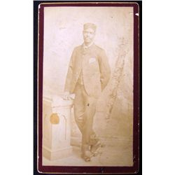 Rare Antique CDV Photo African American w/Rollerskates