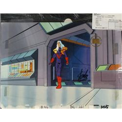 X-MEN Original Animation Background Signed Stan Lee Cel