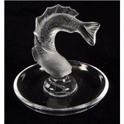 Lalique Signed Crystal Goujon Fish Ring/Pin Dish