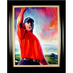 4x Masters Tiger Woods Signed Canvas Art Print Framed