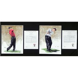 James Byrne Signed Print Tiger Woods and Phil Mickelson