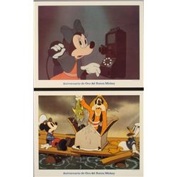 2 Mickey Mouse Golden Anniversary Orig Lobby Cards