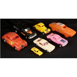 7 Vintage Plastic Cars General Lee, Tootsie Toy USA