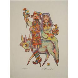 Jovan OBican Signed Art Print Couple on Donkey