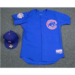 Game Worn Edgar Tovar Bullpen Coach Cubs Jersey and Hat