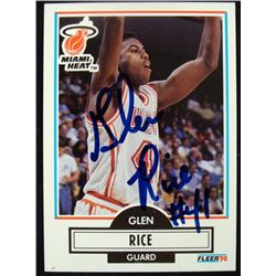 Fleer Glen Rice Autographed Rookie Card Miami Heat
