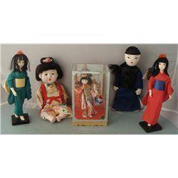 5 Vintage Asian Traditional Clothes Dolls Japan Vietnam