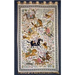 Indian Safari Tapestry w/ Horses, Lion, Monkey