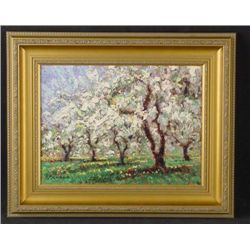 Framed Sammoun MORNING IN MAY Landscape Art Canvas