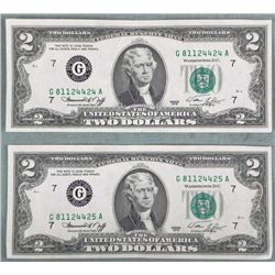 2 1976 UNC $2 Two Dollar Bills Notes Sequential G Mint