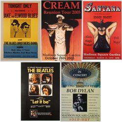 5 Repro Rock Posters- Beatles Cream Santana Bob Dylan