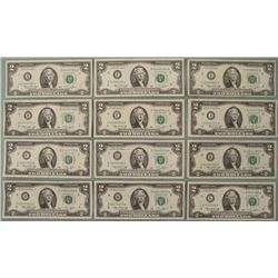 Complete Set of All Mints A-L 1976 $2 Bills UNC