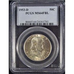 1953-D FRANKLIN HALF DOLLAR - PCGS MS64 FBL
