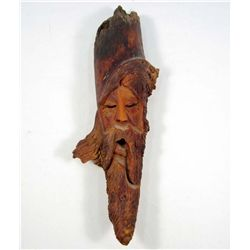 HAND CARVED WOOD FACE PLAQUE - SIGNED