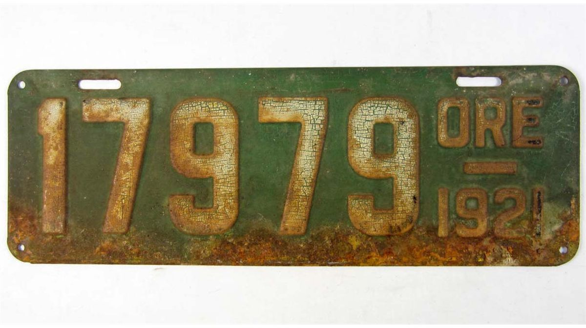 VINTAGE 1921 OREGON AUTOMOBILE CAR LICENSE PLATE