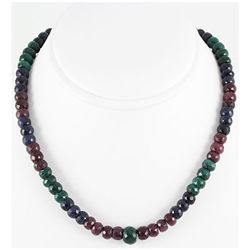 297.84ct Natural Multi-Color Rondelles Necklace
